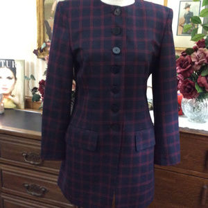 Jaeger 7 Button Suit Blazer Maroon Navy Plaid